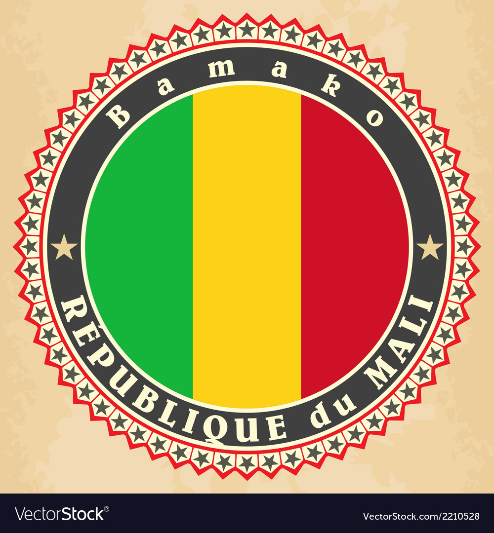 Vintage label cards of mali flag vector | Price: 1 Credit (USD $1)