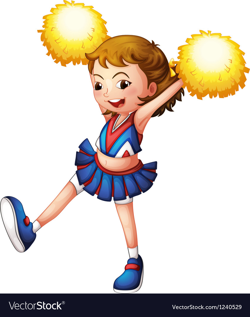 A cheerleader with yellow pompoms vector | Price: 1 Credit (USD $1)