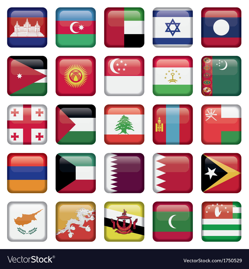 Asia flags square buttons vector | Price: 1 Credit (USD $1)