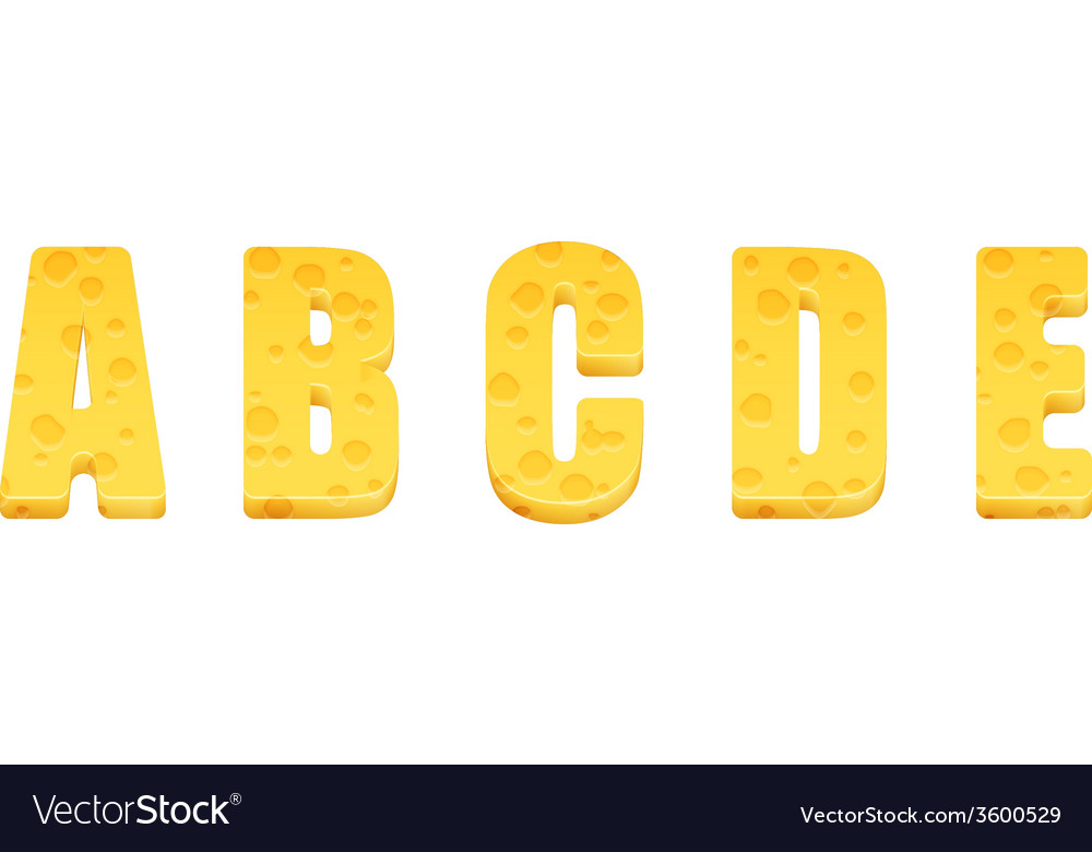 Cheese alphabet set letters a-e vector | Price: 1 Credit (USD $1)