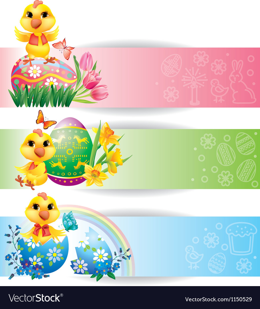 Easter colorful horizontal banners with chicken vector | Price: 1 Credit (USD $1)