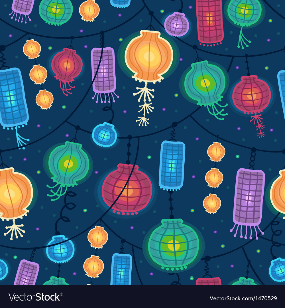 Glowing lanterns seamless pattern background vector | Price: 1 Credit (USD $1)