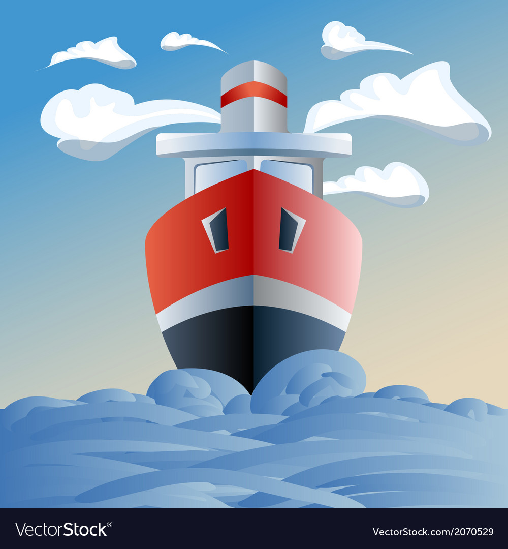 Red ship in the sea clouds and waves vector | Price: 1 Credit (USD $1)