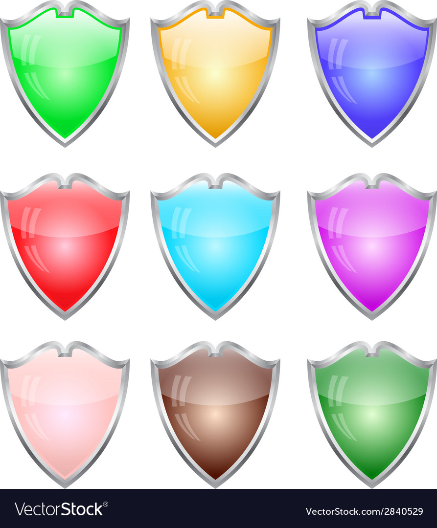 Steel shields in different colors vector | Price: 1 Credit (USD $1)