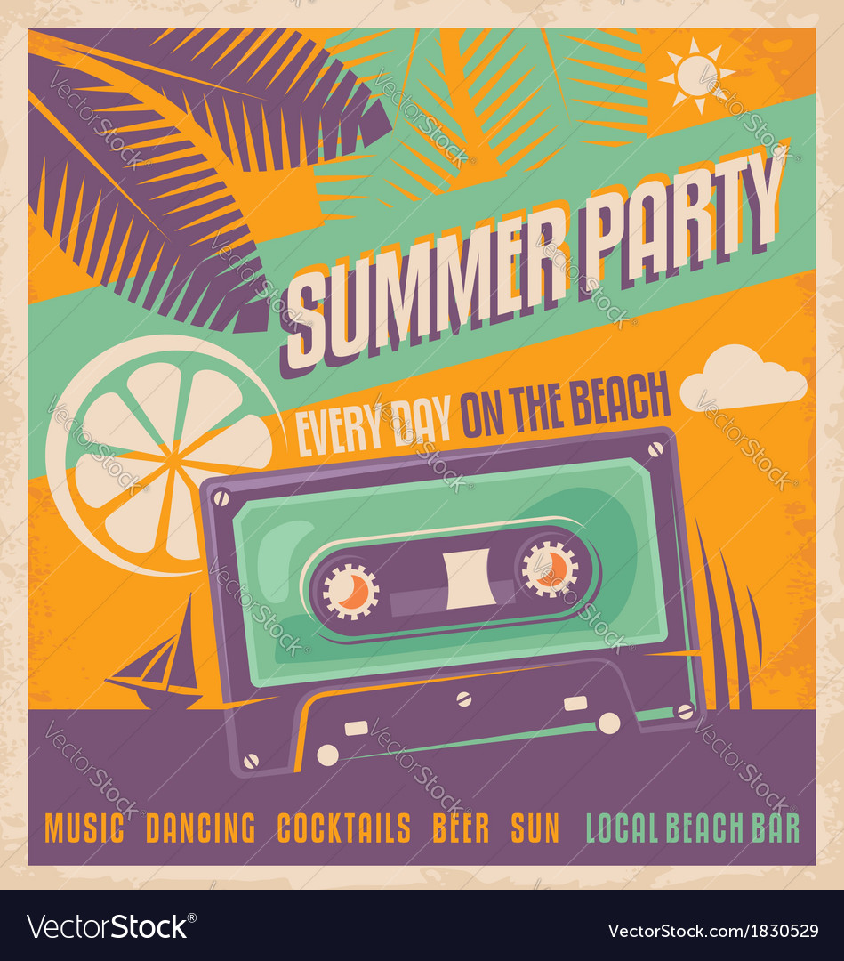 Summer party retro poster vector | Price: 1 Credit (USD $1)