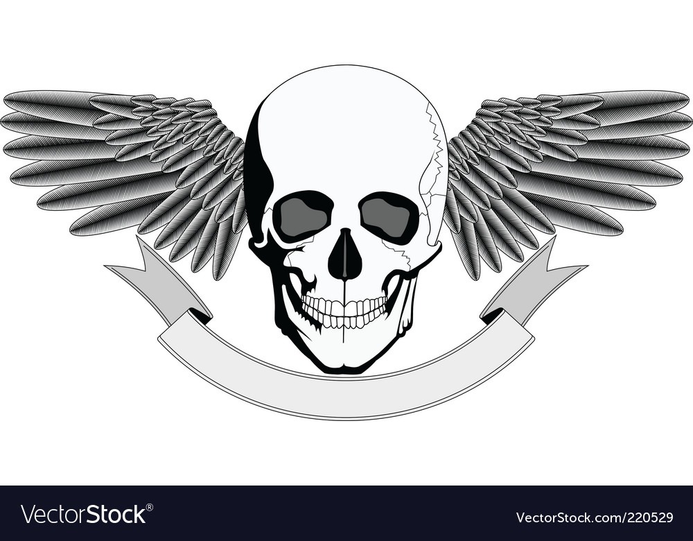 Winged human skull logo vector | Price: 1 Credit (USD $1)
