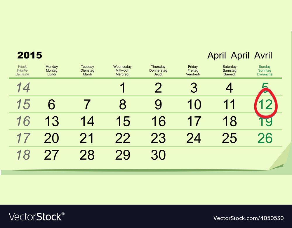 April 12 - orthodox easter 2015 green calendar vector | Price: 1 Credit (USD $1)