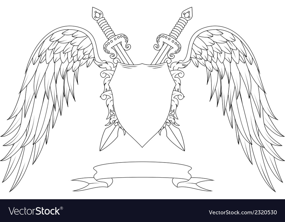 Composition with swords wings badge and ribbon vector | Price: 1 Credit (USD $1)