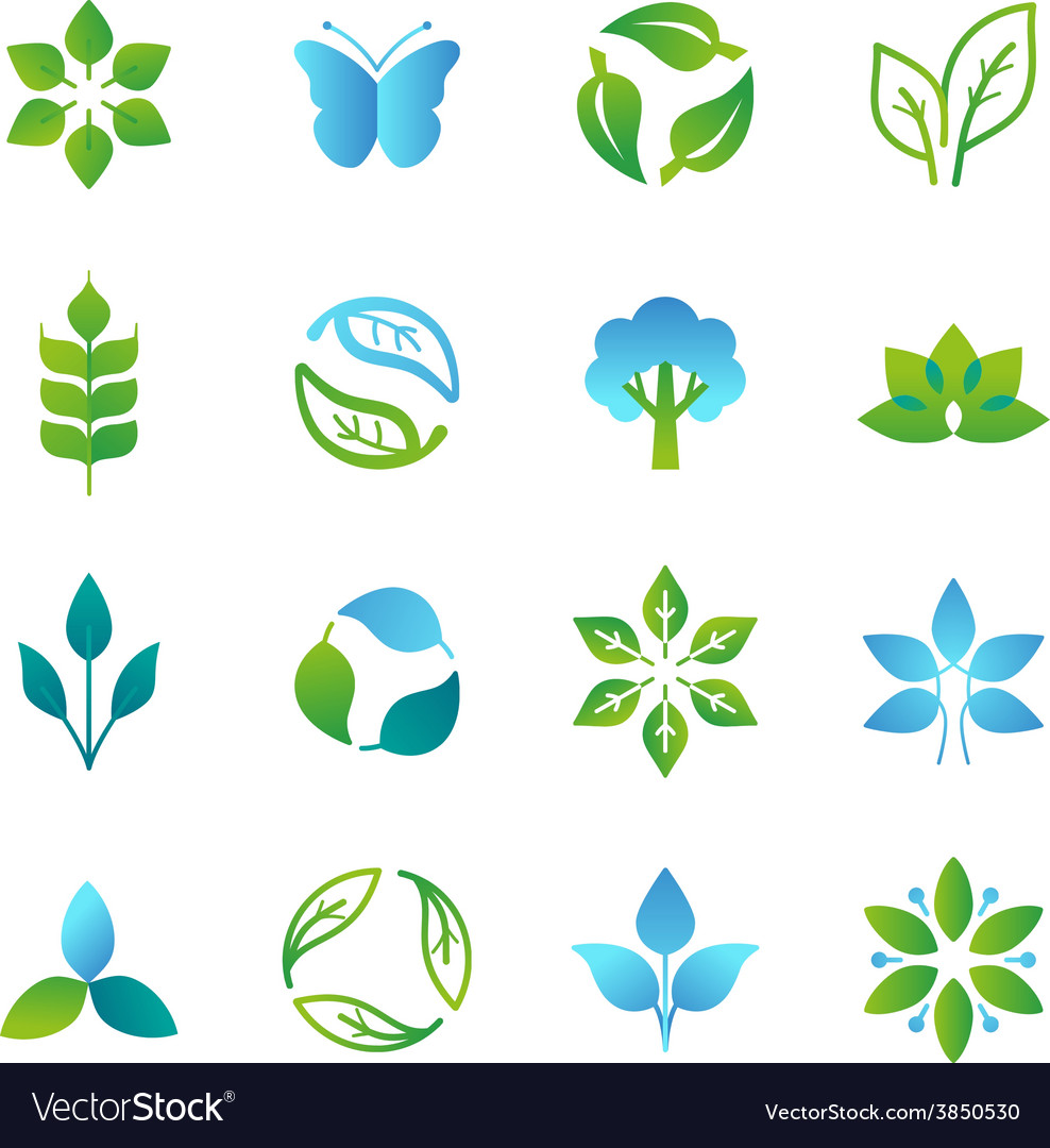 Green logos and emblems vector | Price: 1 Credit (USD $1)