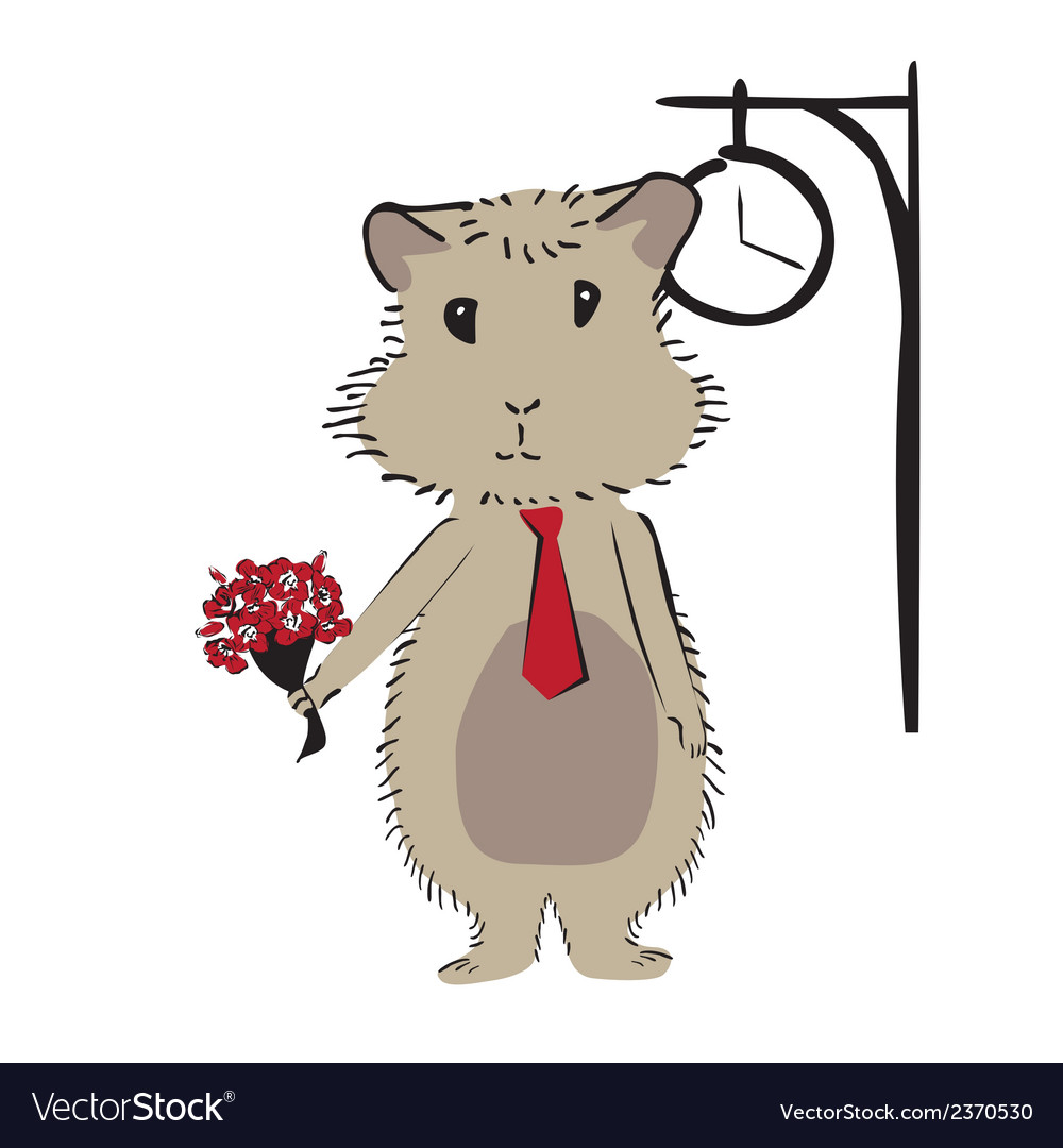 Hamster with flowers vector | Price: 1 Credit (USD $1)