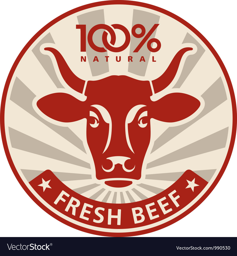 Label with the head of a cow vector | Price: 1 Credit (USD $1)