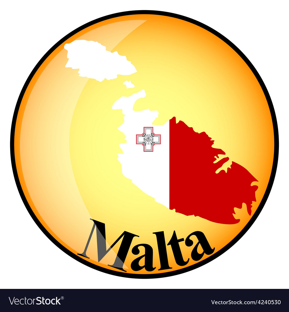 Orange button with the image maps of malta vector | Price: 1 Credit (USD $1)