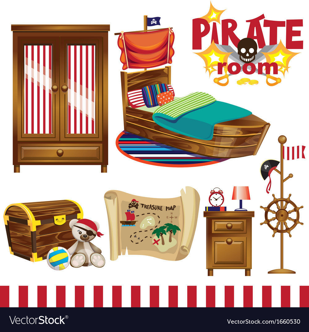 Pirate room set vector | Price: 3 Credit (USD $3)