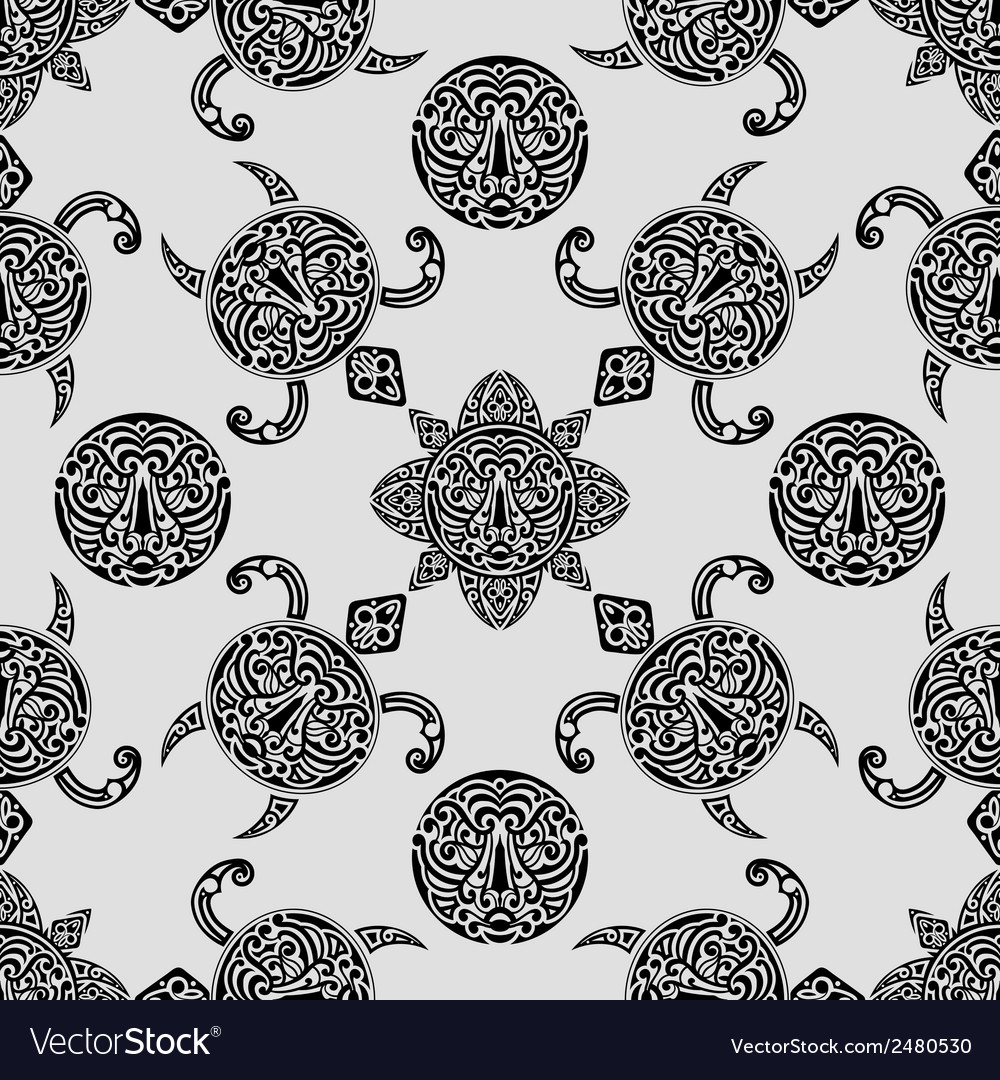 Seamless pattern with polynesian symbols vector | Price: 1 Credit (USD $1)