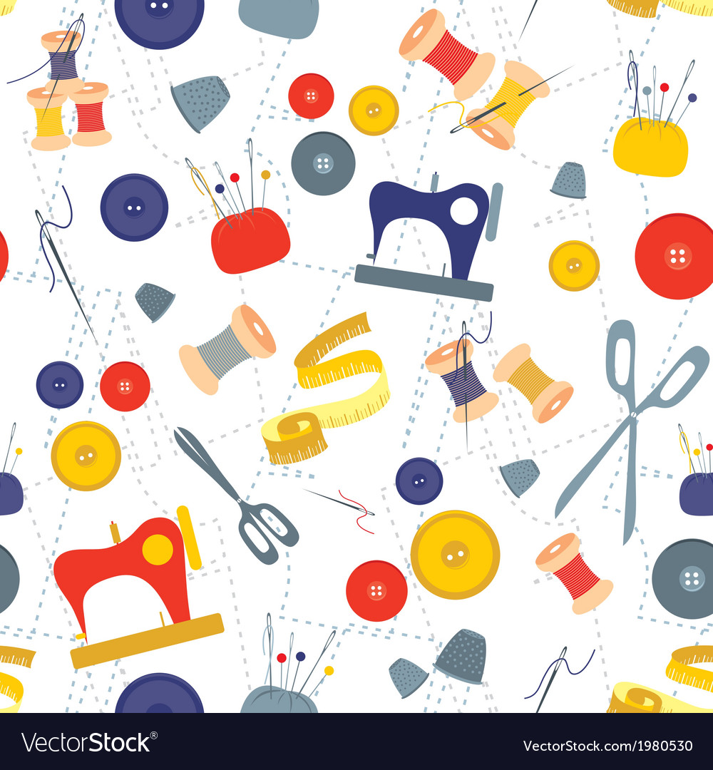 Sewing items pattern vector | Price: 1 Credit (USD $1)
