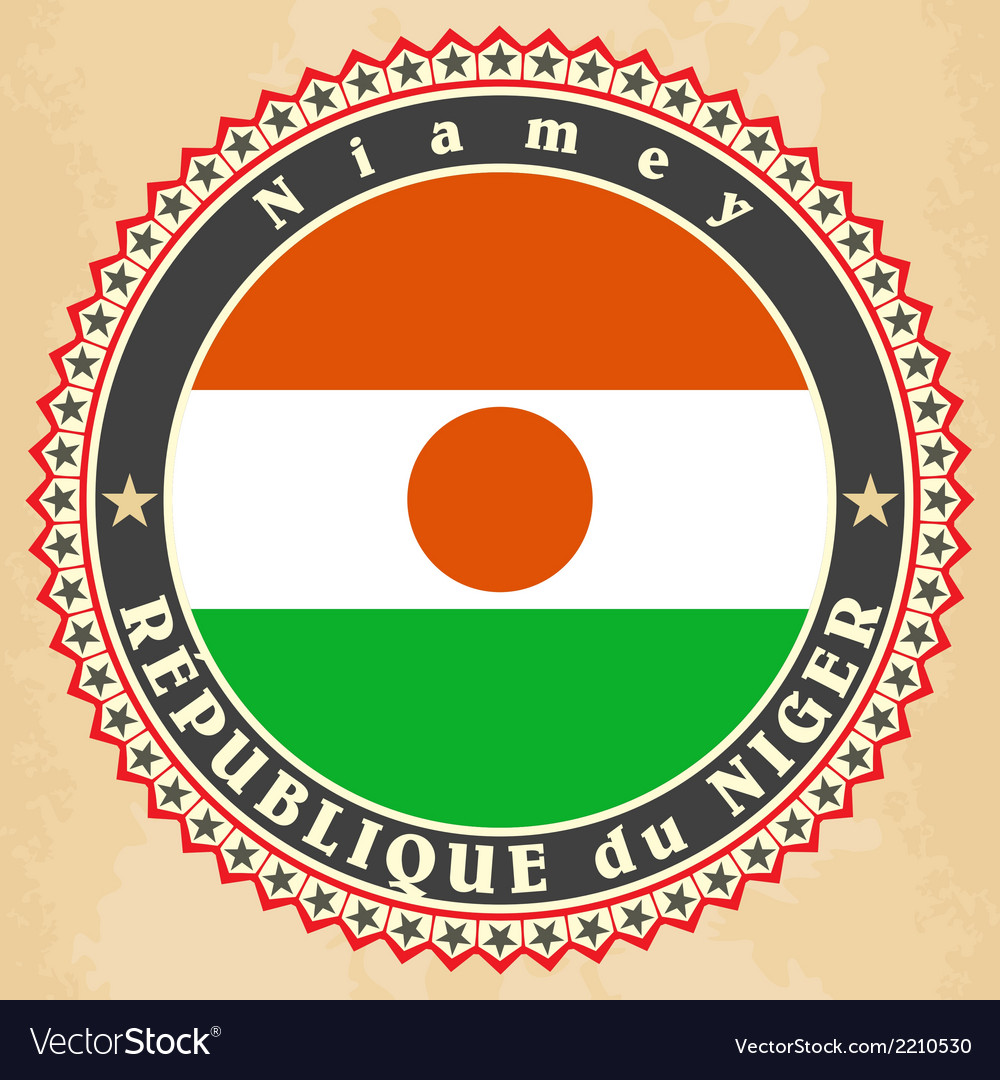 Vintage label cards of niger flag vector | Price: 1 Credit (USD $1)
