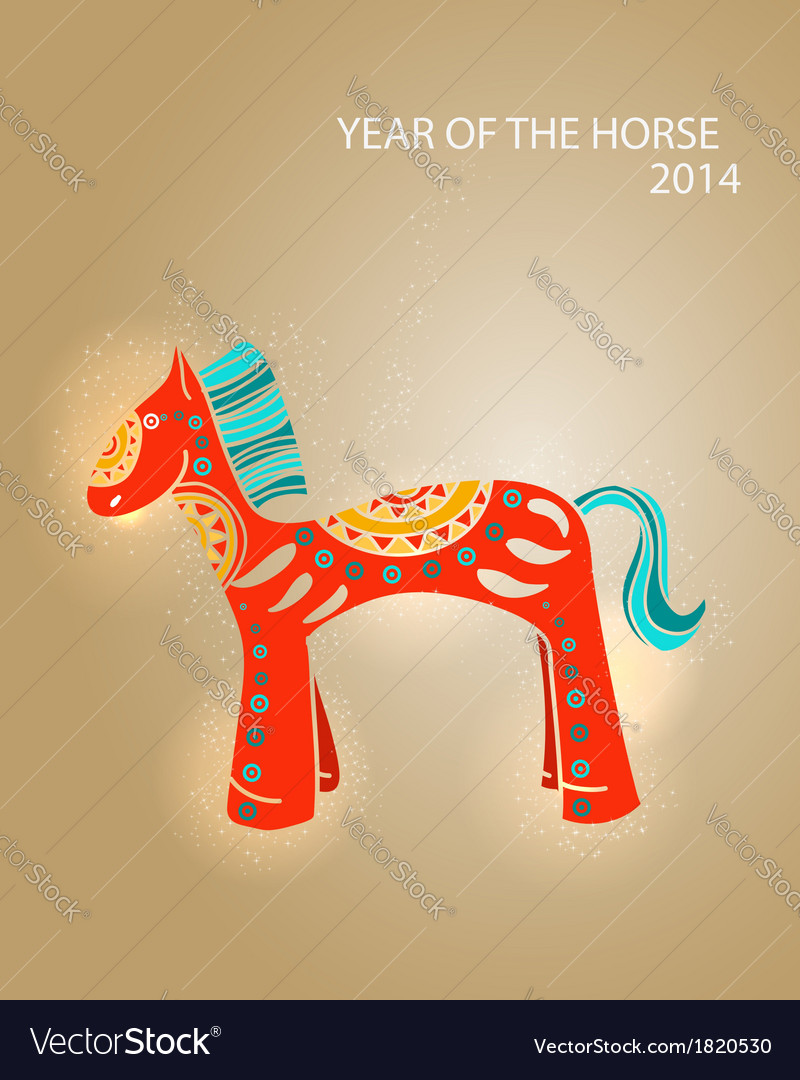 Year of the horse 2014 greeting card vector | Price: 1 Credit (USD $1)