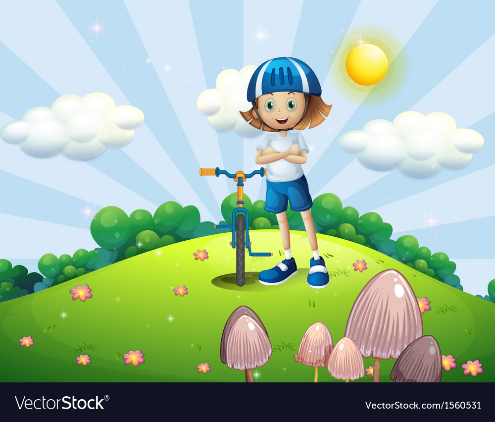A hilltop with a female biker wearing a helmet vector | Price: 3 Credit (USD $3)