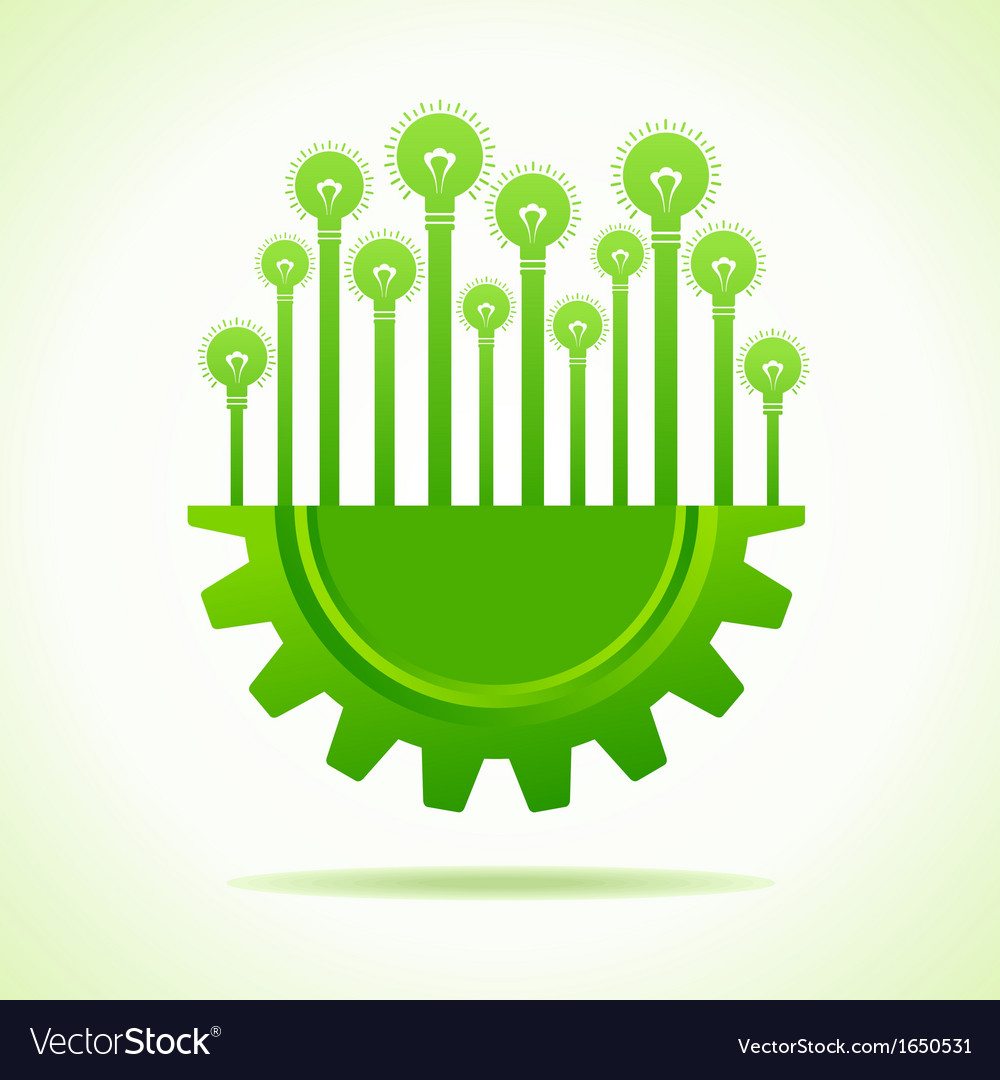Bulbs on half gear vector | Price: 1 Credit (USD $1)