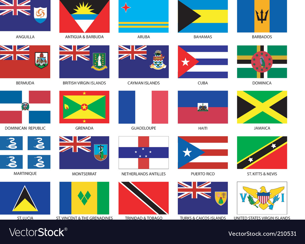 Caribbean flags vector | Price: 1 Credit (USD $1)