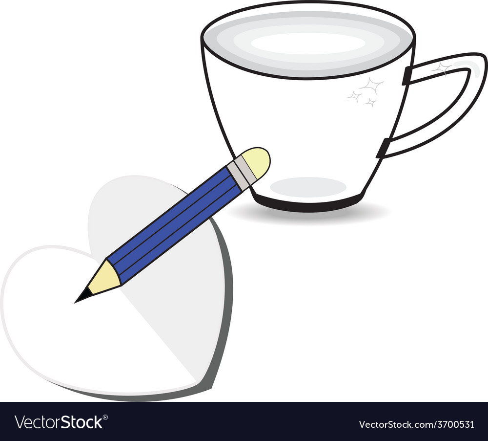 Coffee cup with paper heart and pencil vector | Price: 1 Credit (USD $1)