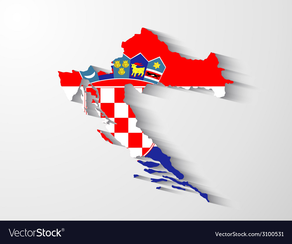 Croatia map with shadow effect vector | Price: 1 Credit (USD $1)