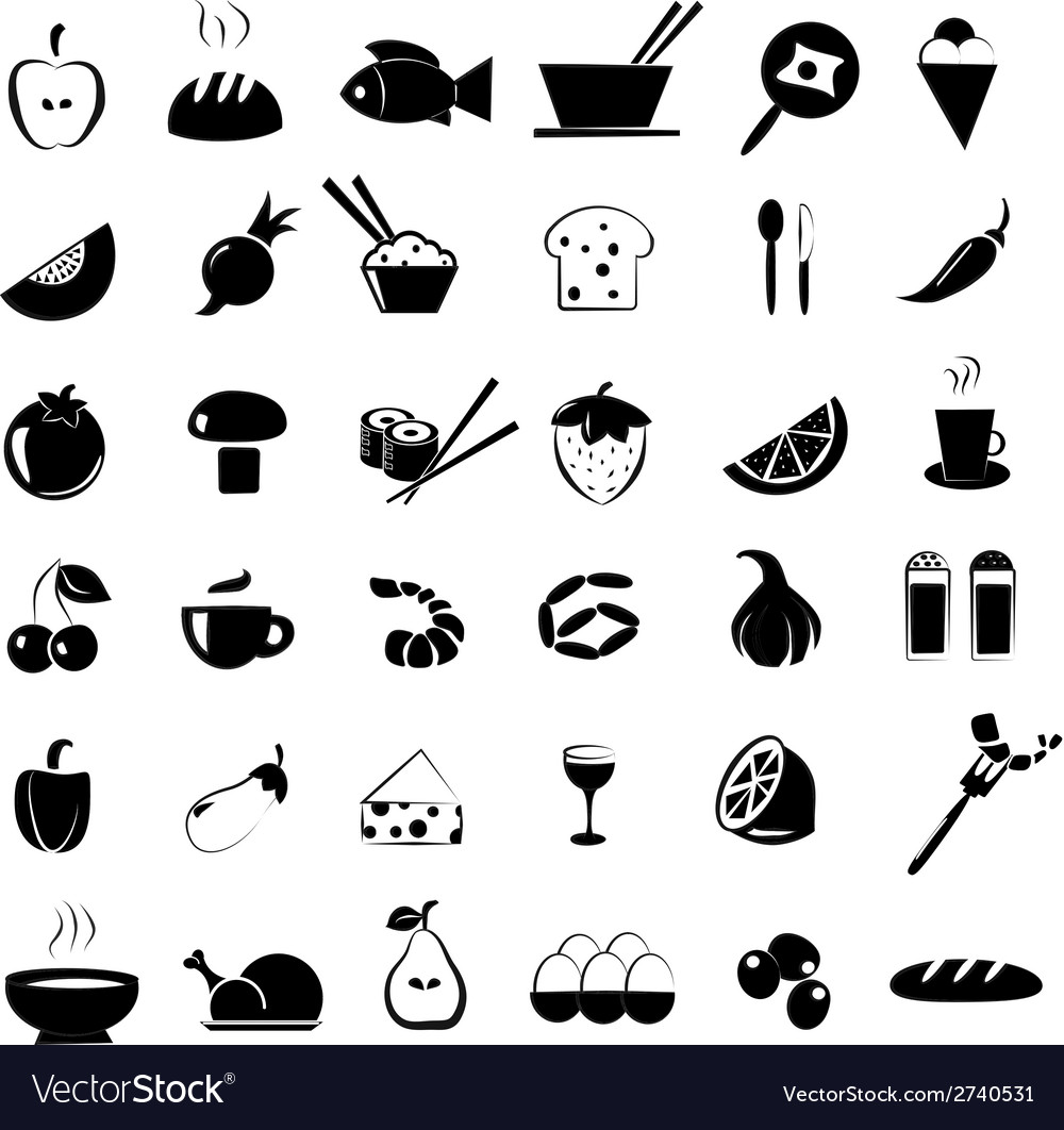 Food icons set vector | Price: 1 Credit (USD $1)