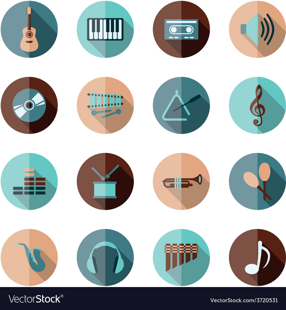 Music flat icons vector | Price: 1 Credit (USD $1)