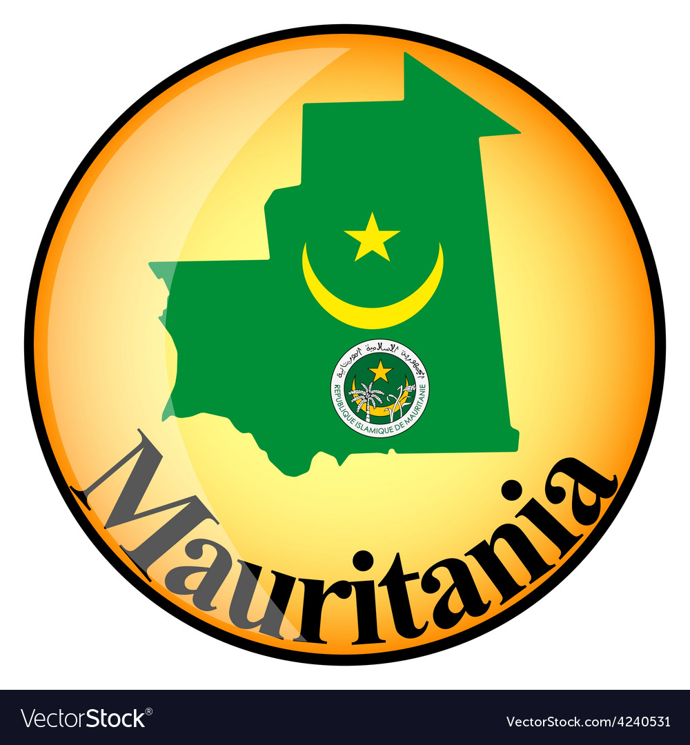 Orange button with the image maps of mauritania vector | Price: 1 Credit (USD $1)