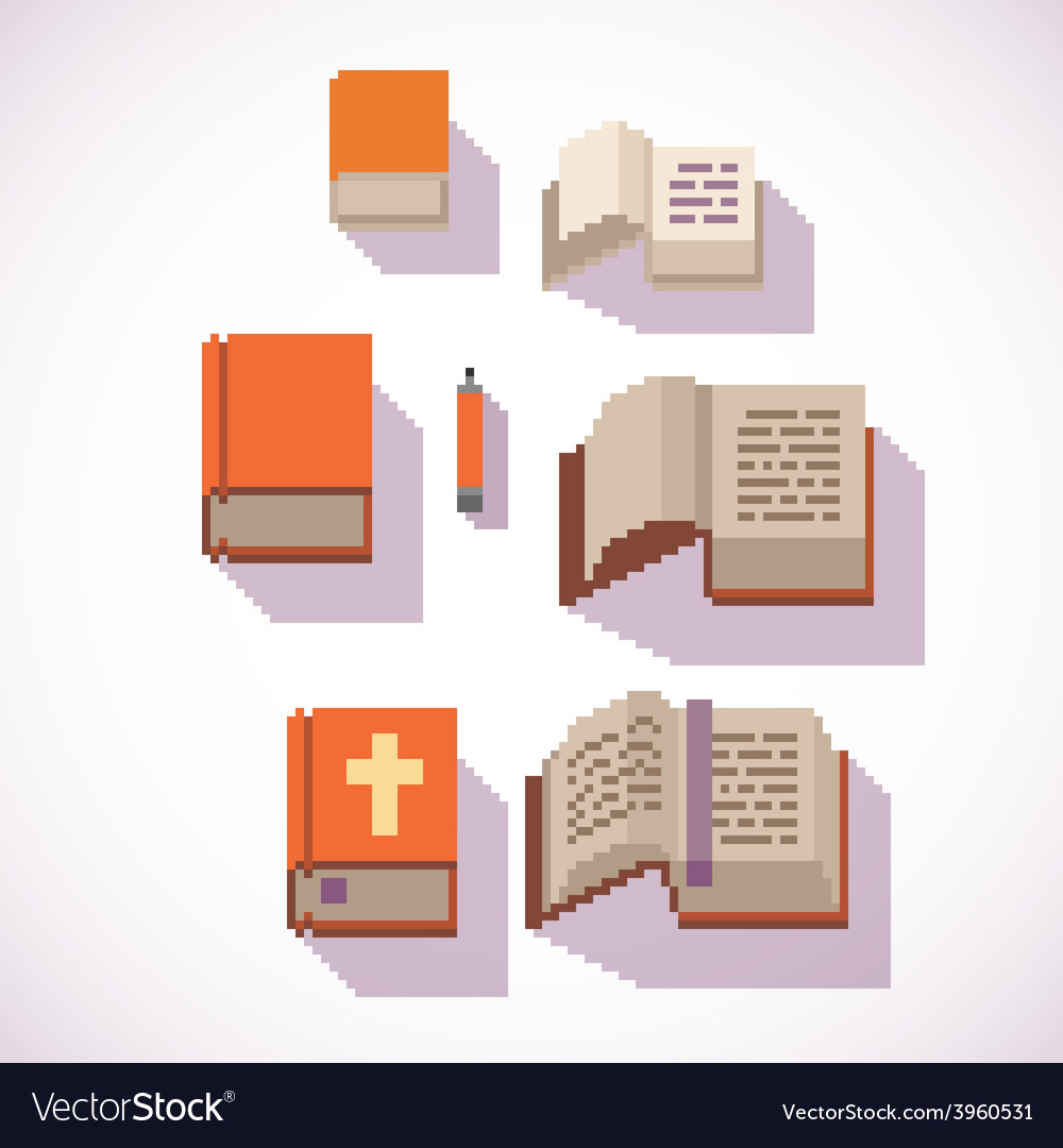 Pixel art style closed and open book icons set vector | Price: 1 Credit (USD $1)