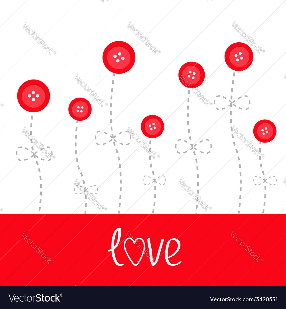 Red button flowers dash line stem with bow love vector | Price: 1 Credit (USD $1)
