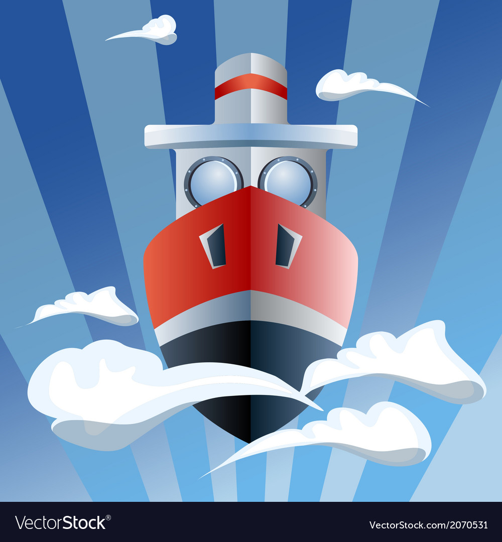 Red ship in the air clouds vector | Price: 1 Credit (USD $1)