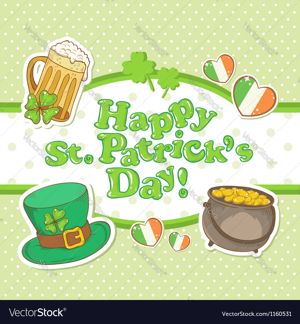 Saint patricks day elements invitation postcard vector | Price: 1 Credit (USD $1)
