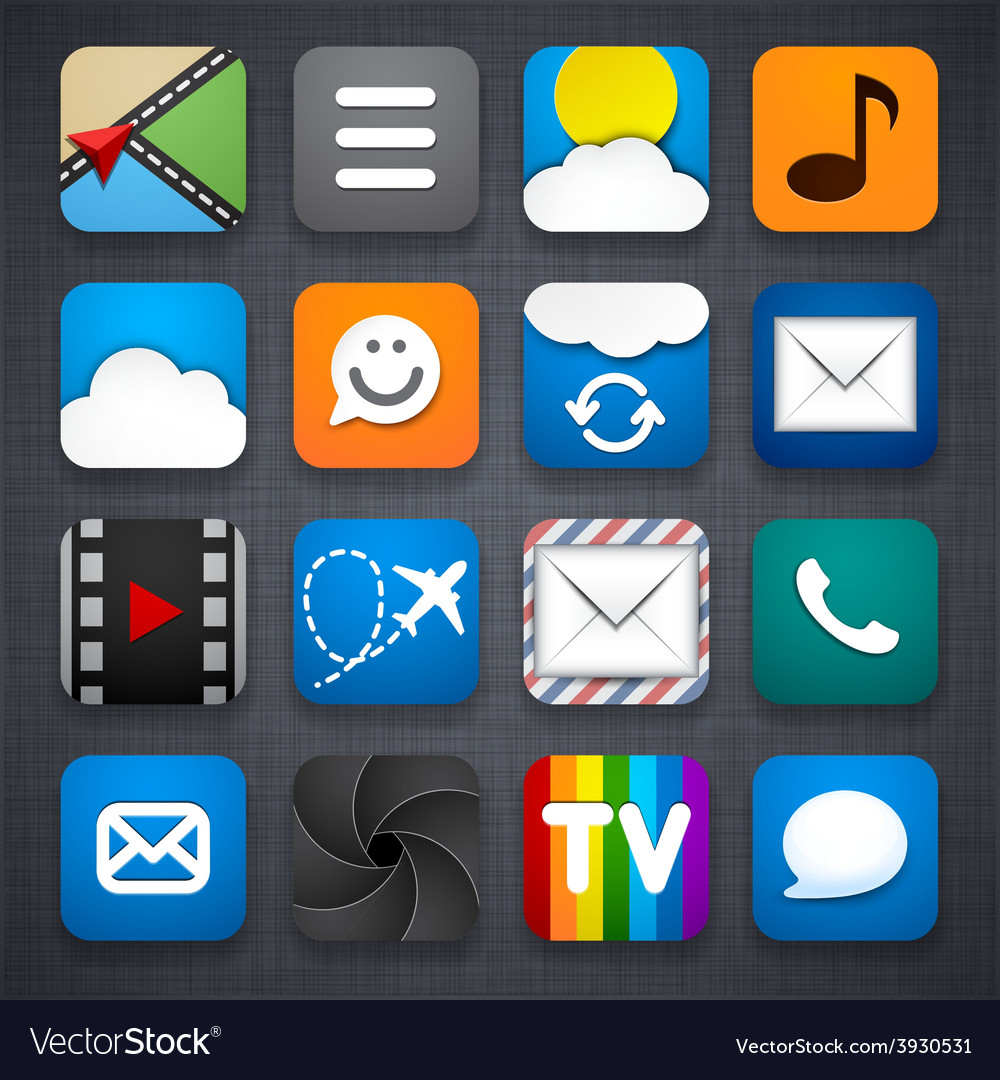 Set of app icons vector | Price: 1 Credit (USD $1)