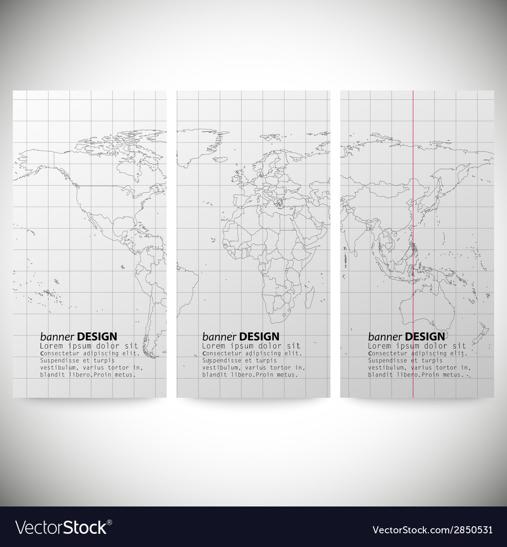 Set of vertical banners gray political world map vector | Price: 1 Credit (USD $1)