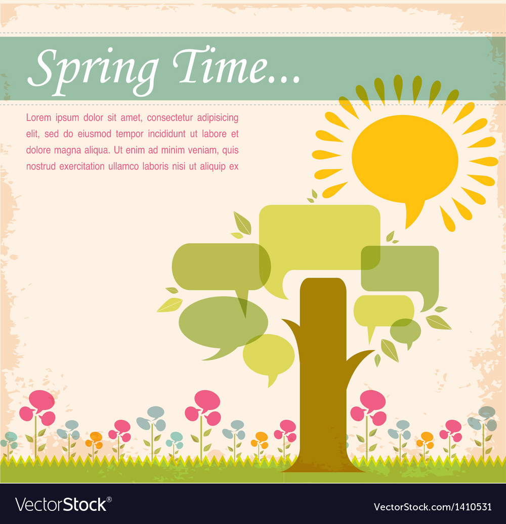 Spring time speech bubble meadow vector | Price: 3 Credit (USD $3)