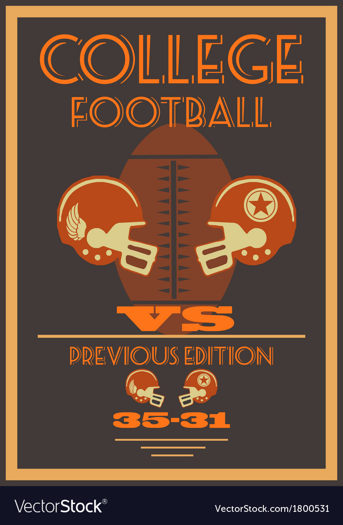 Vintage college american football poster vector | Price: 1 Credit (USD $1)