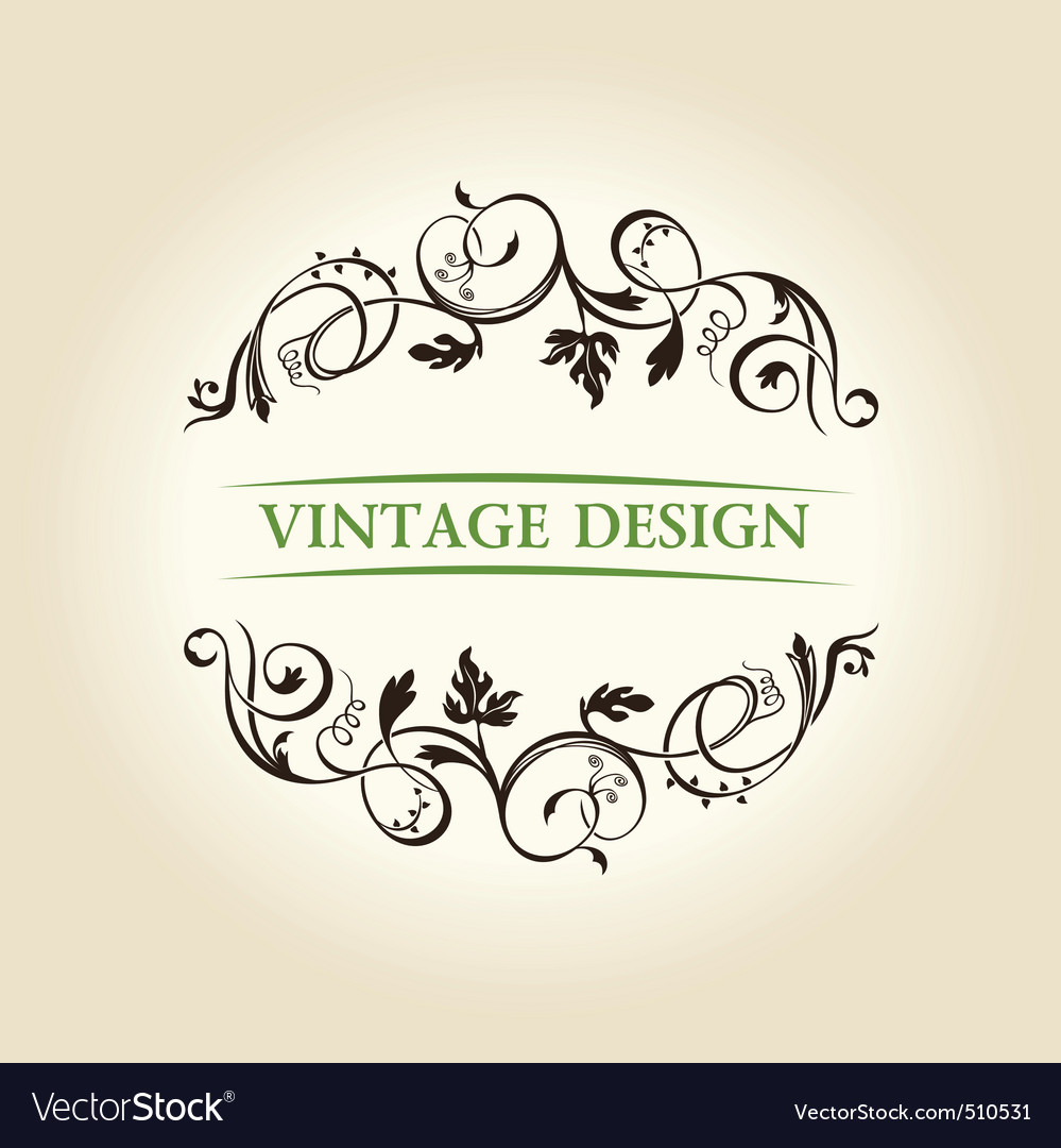 Vintage decor label ornament design emblem vector | Price: 1 Credit (USD $1)