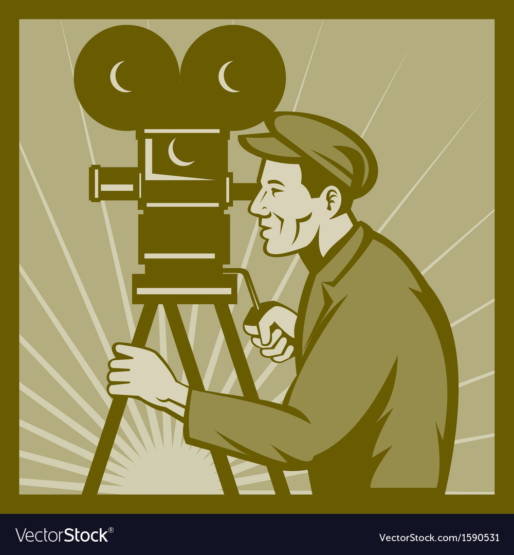 Vintage movie television film camera director vector | Price: 1 Credit (USD $1)