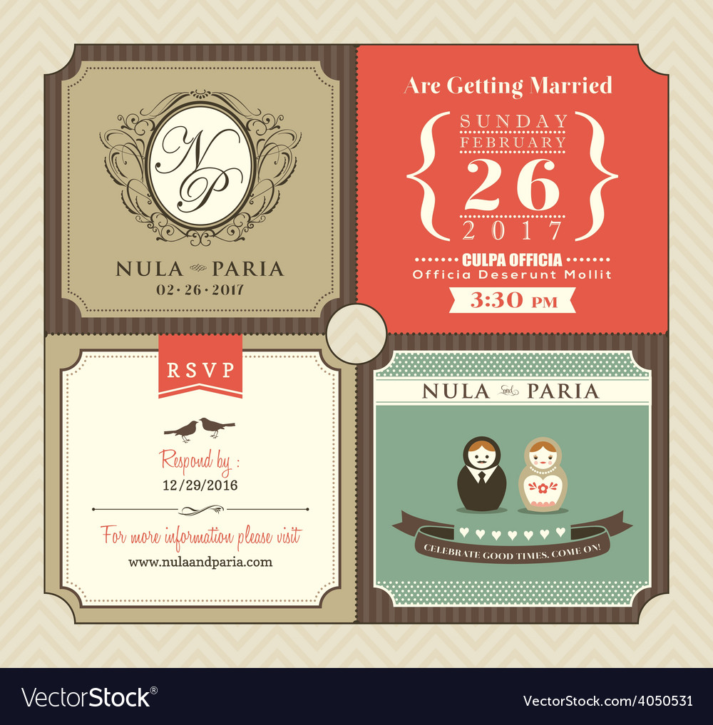 Vintage style wedding invitation card template vector | Price: 1 Credit (USD $1)