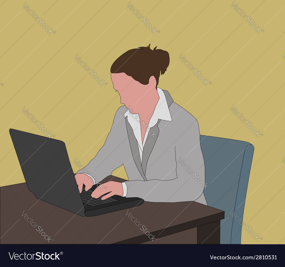 Working on laptop vector | Price: 1 Credit (USD $1)