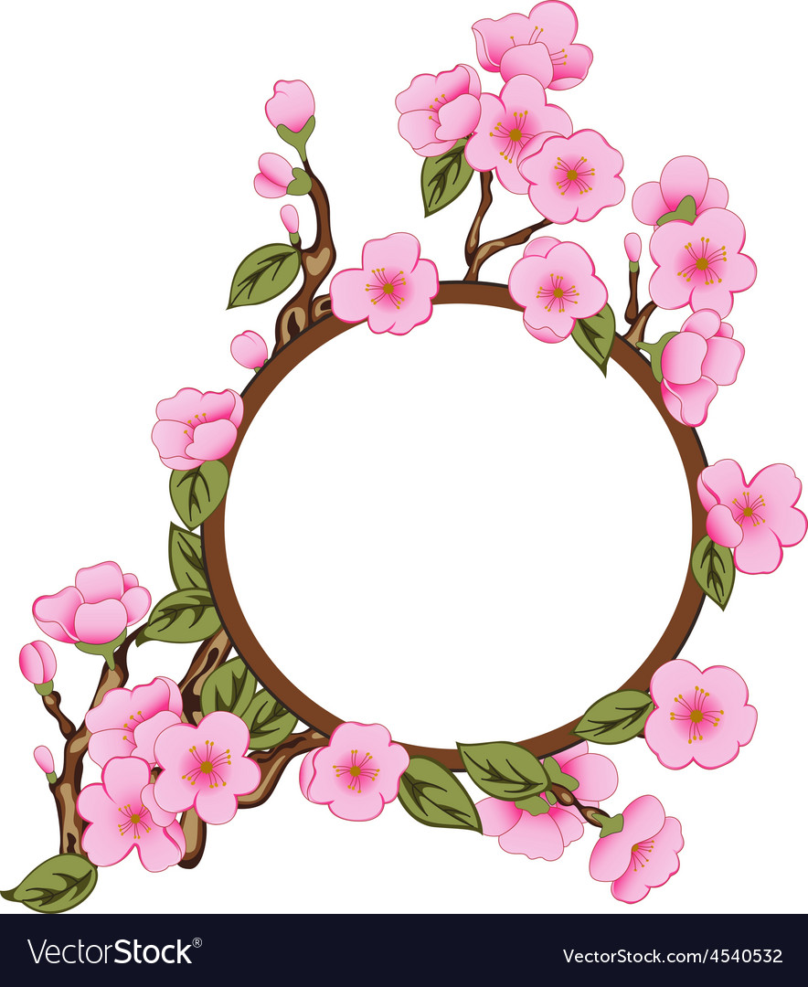 Background with sakura with frame vector | Price: 1 Credit (USD $1)