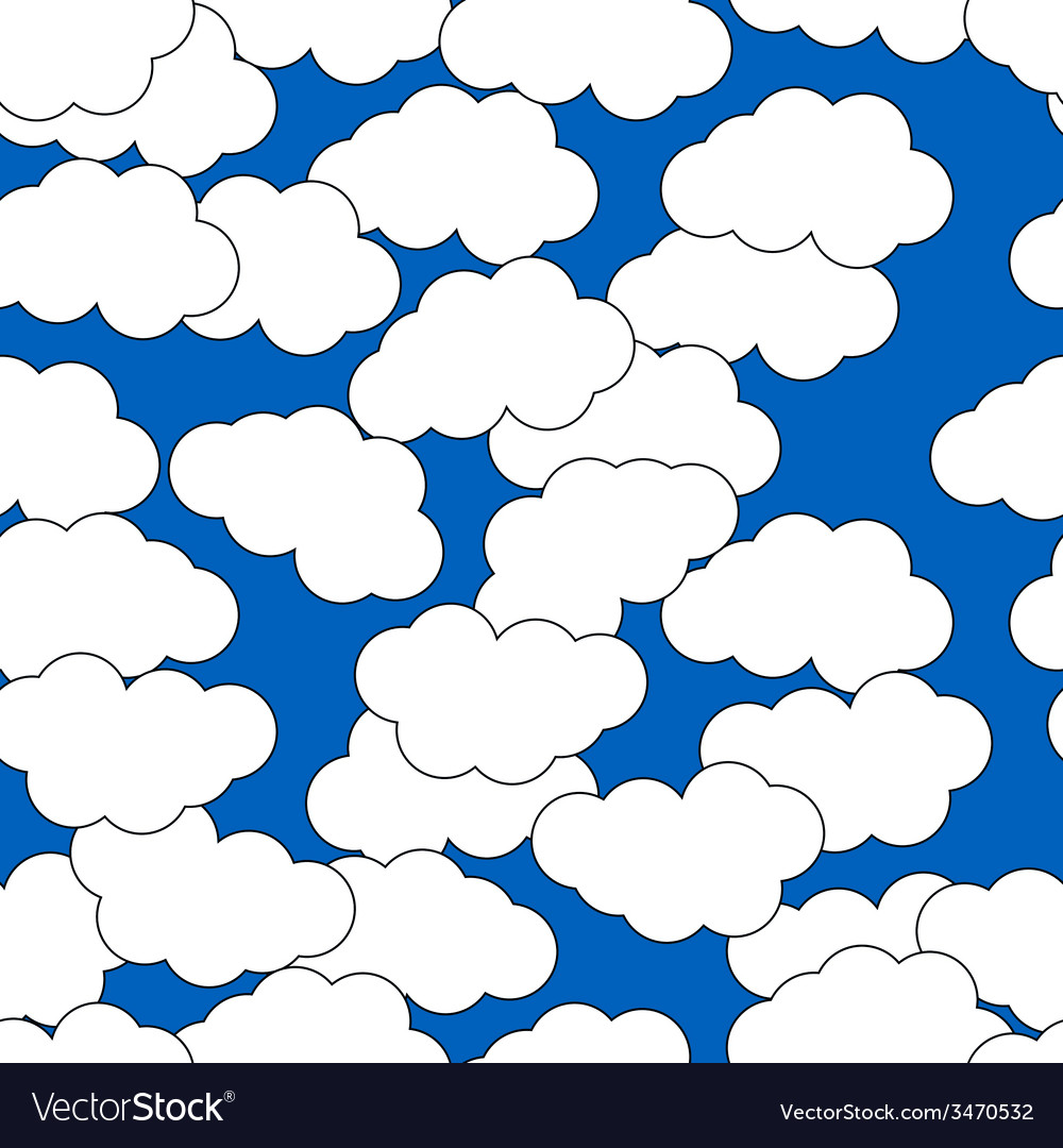 Cartoon clouds on blue background for design vector | Price: 1 Credit (USD $1)