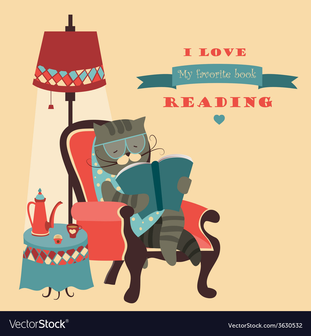 Cat reading book sitting in a chair vector | Price: 1 Credit (USD $1)