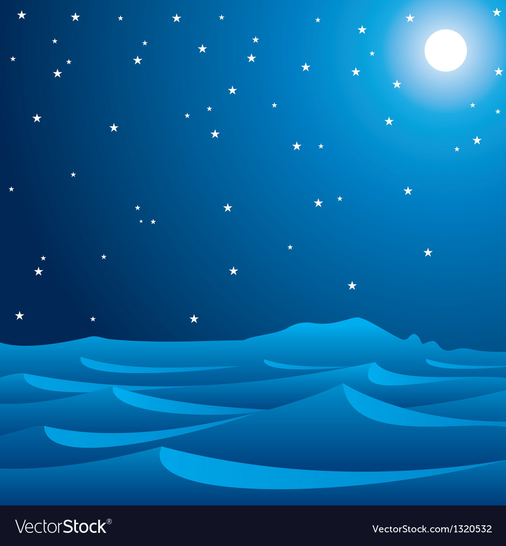 Desert in moonlight vector | Price: 1 Credit (USD $1)