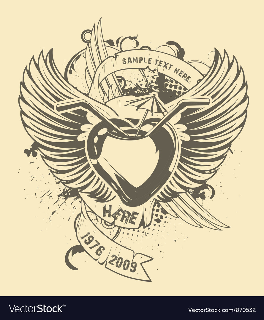 Grunge t-shirt design with heart vector | Price: 1 Credit (USD $1)