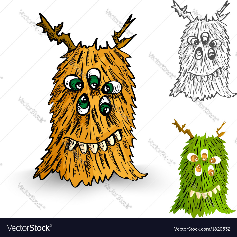 Halloween monsters spooky isolated creatures set vector | Price: 1 Credit (USD $1)