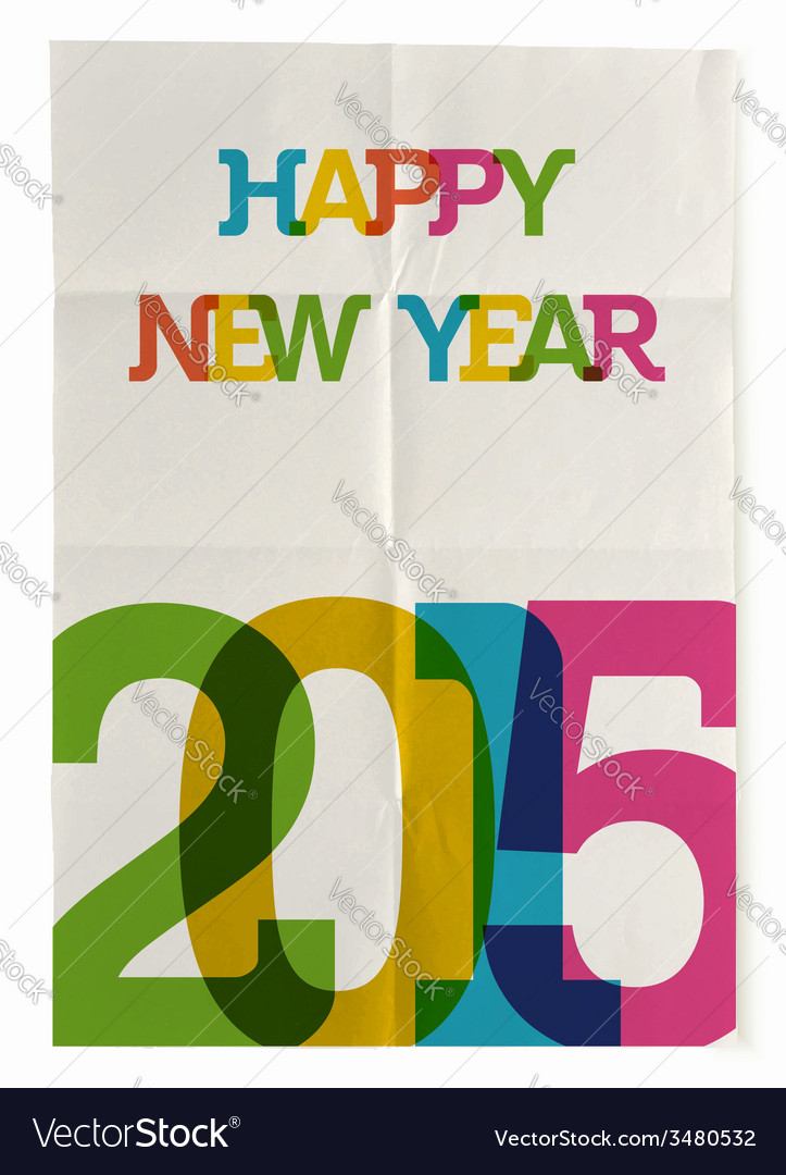 Happy new year 2015 folded paper poster vector | Price: 1 Credit (USD $1)
