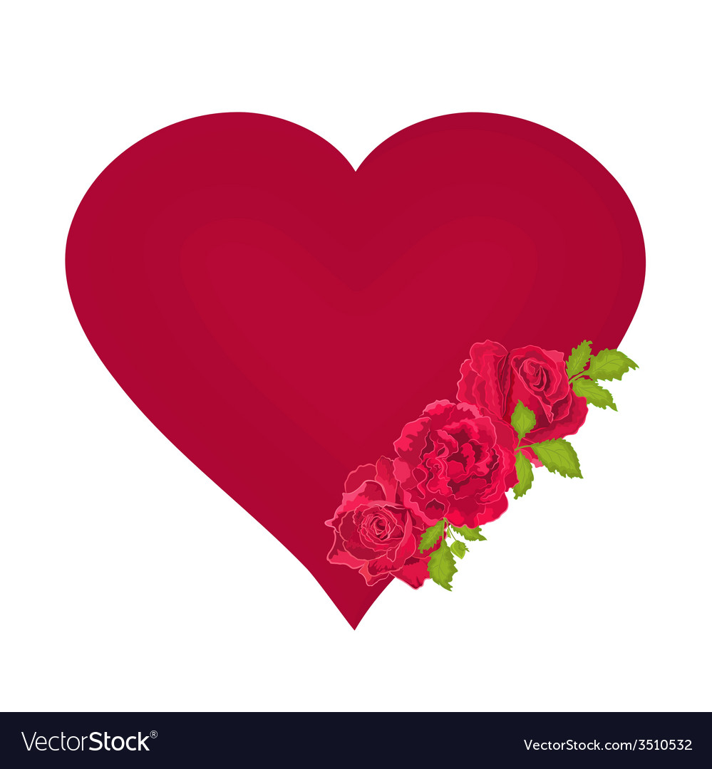 Red heart with roses valentines day mothers day vector | Price: 1 Credit (USD $1)