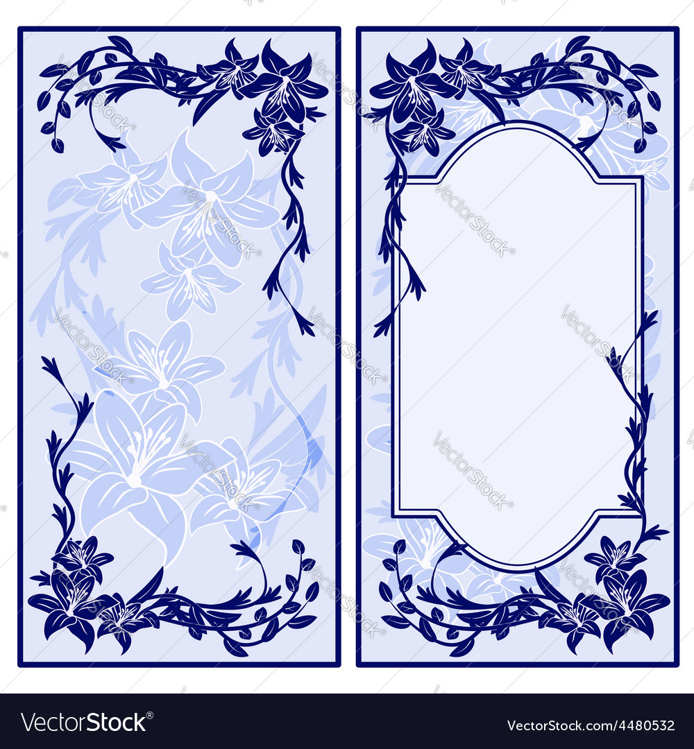 Set of two vintage blue invitations with lilies vector | Price: 1 Credit (USD $1)